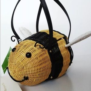 Kate Spade Down the Rabbit Hole Wicker Bee Bag New